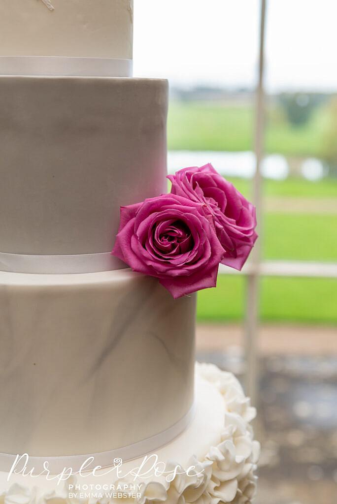 Rose details on a wedding cake