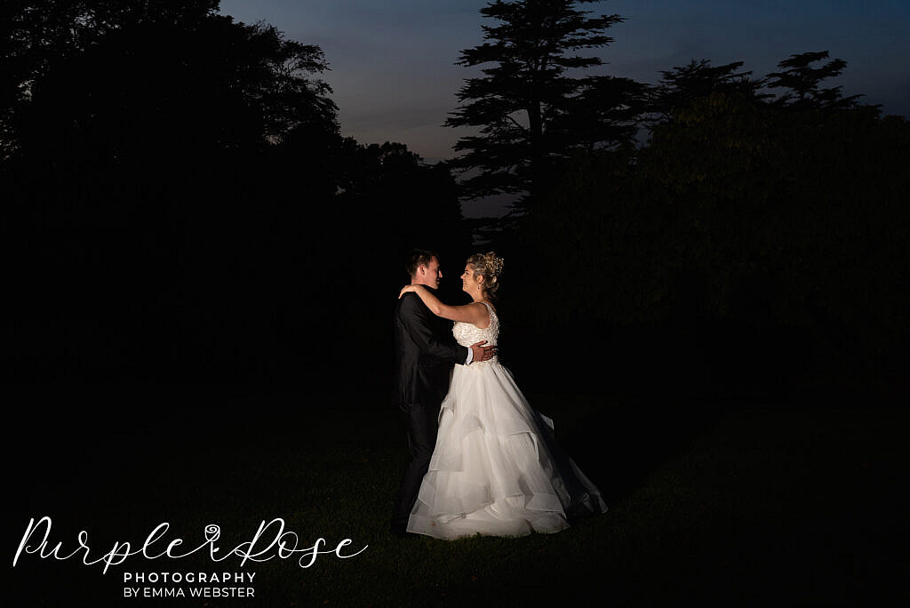 Night time wedding portrait