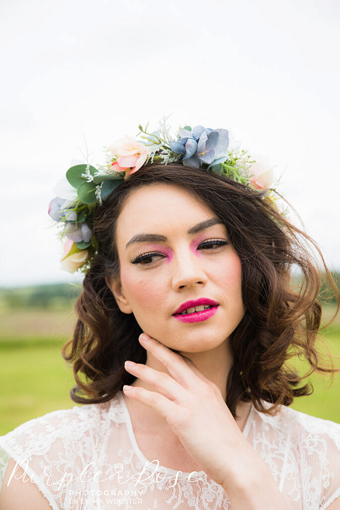 bride with festival themed make up