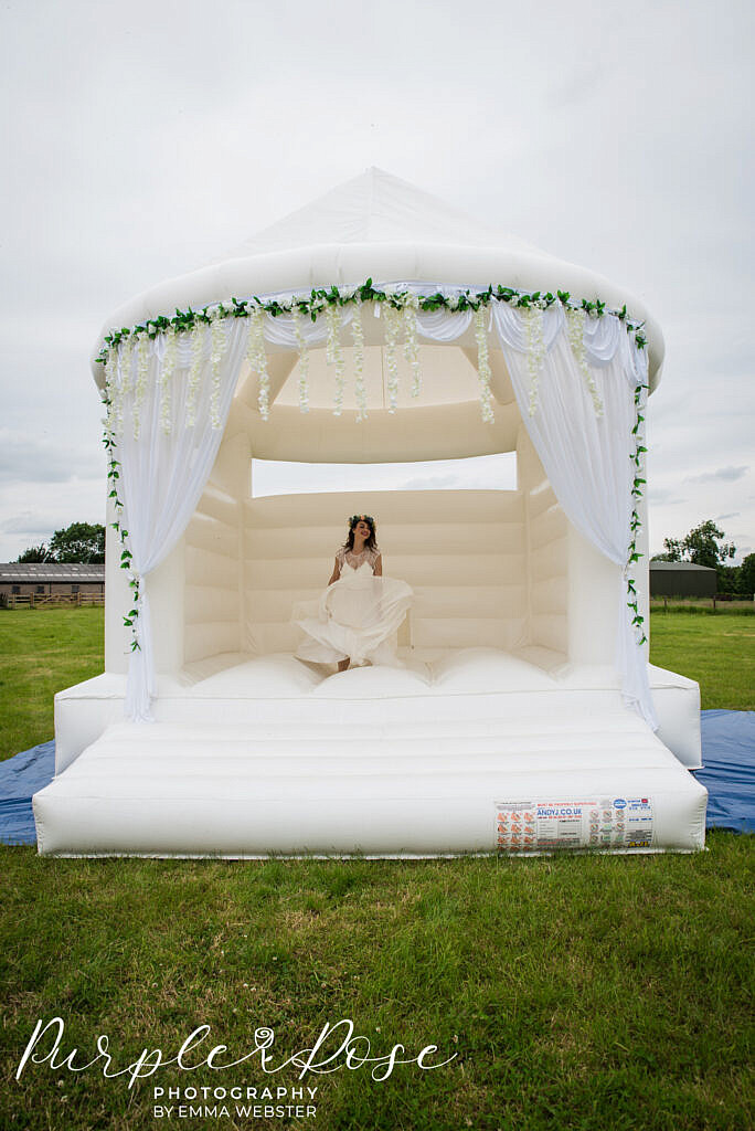 bride on a bouncy castle