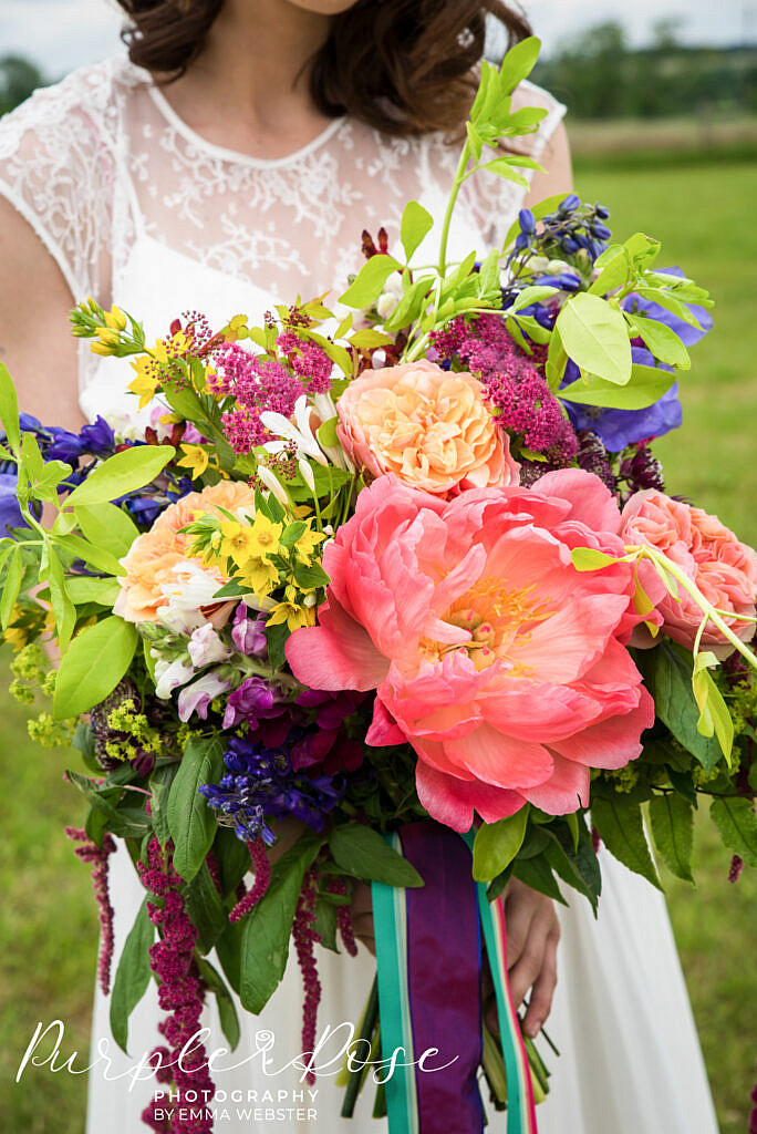 Brightly coloured wedding bouquet