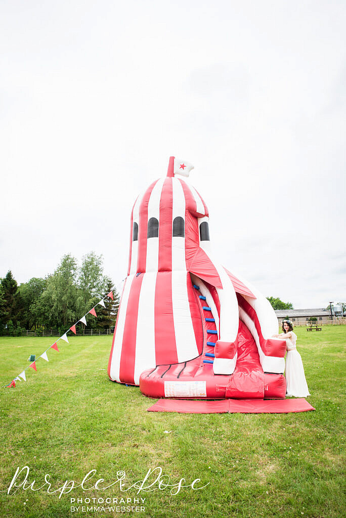 Red and white striped bouncy castle
