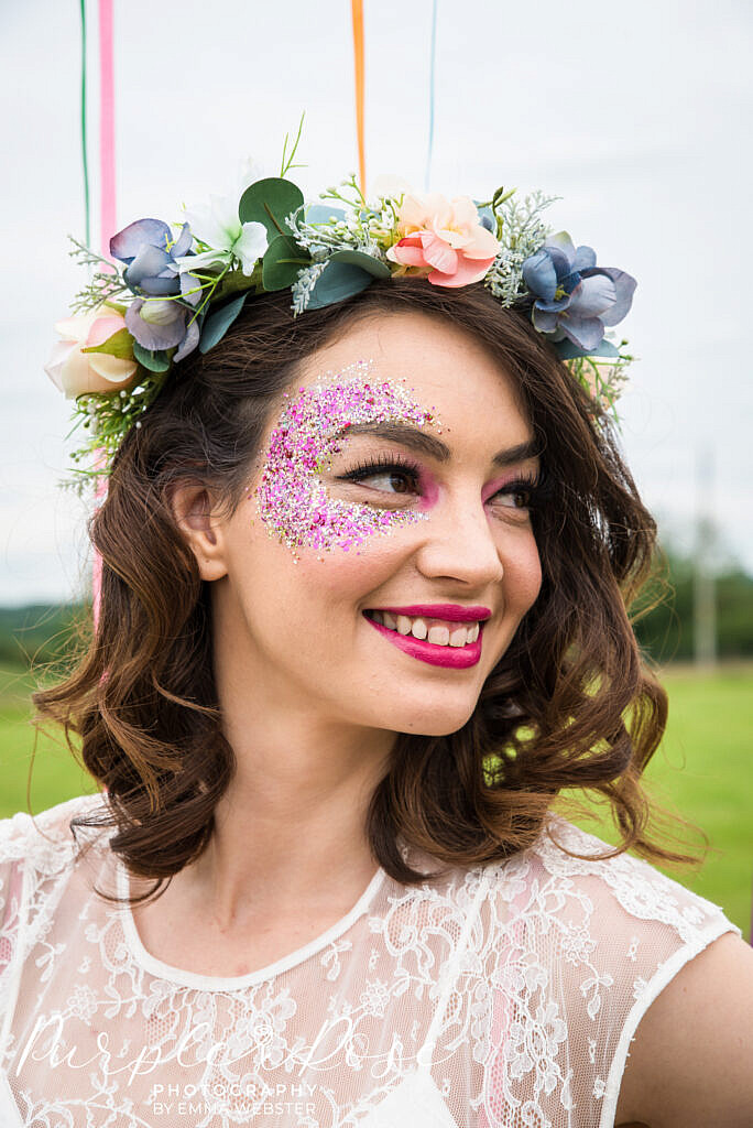 bride with glitter on her face