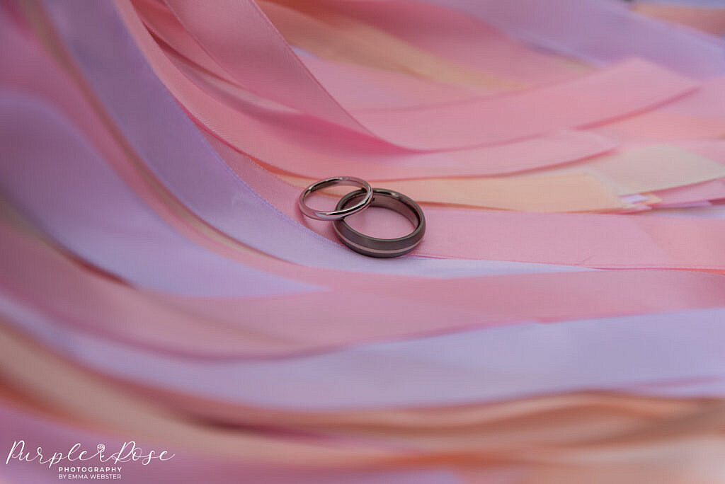 Wedding rings on ribbon