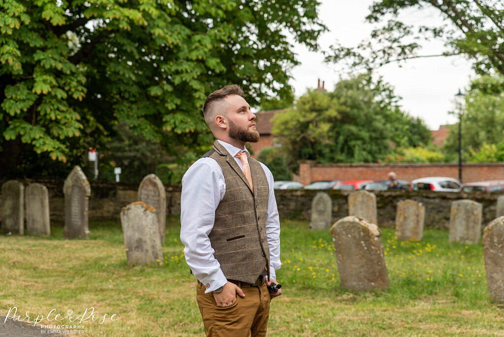 Groom outside the church