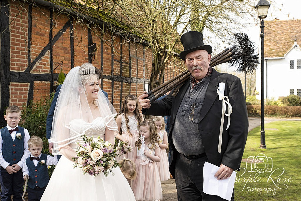 Bride with lucky chimney sweep