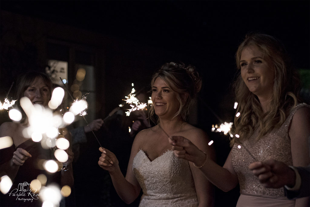 Bride and guests enjoying the evening with some sparklers