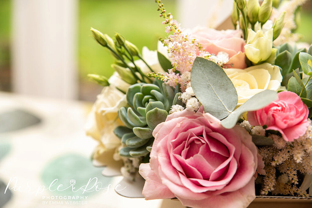 Pink and ivory wedding bouquet