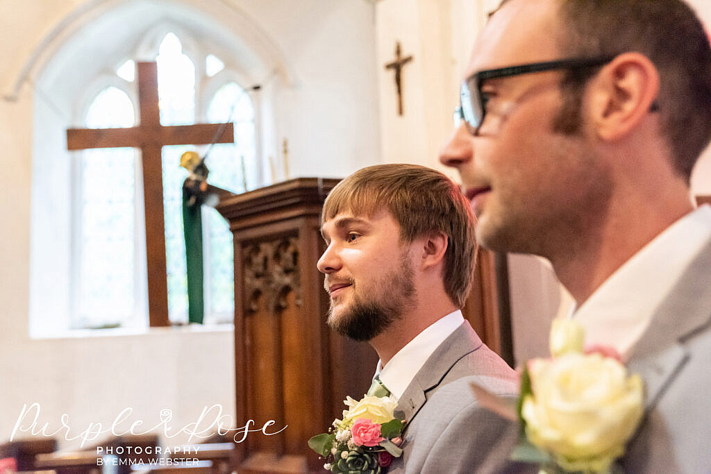 Groom waiting in the church for his bride