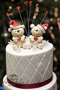 Christmas themed wedding cake topper