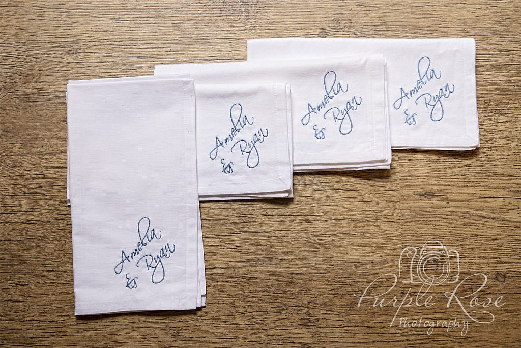 Wedding napkins with the couples name embroidered