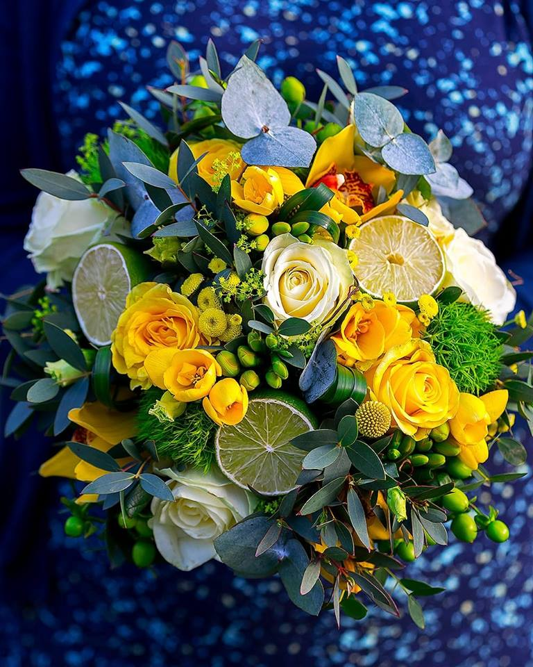 Bridal bouquet on a blue sparkly background