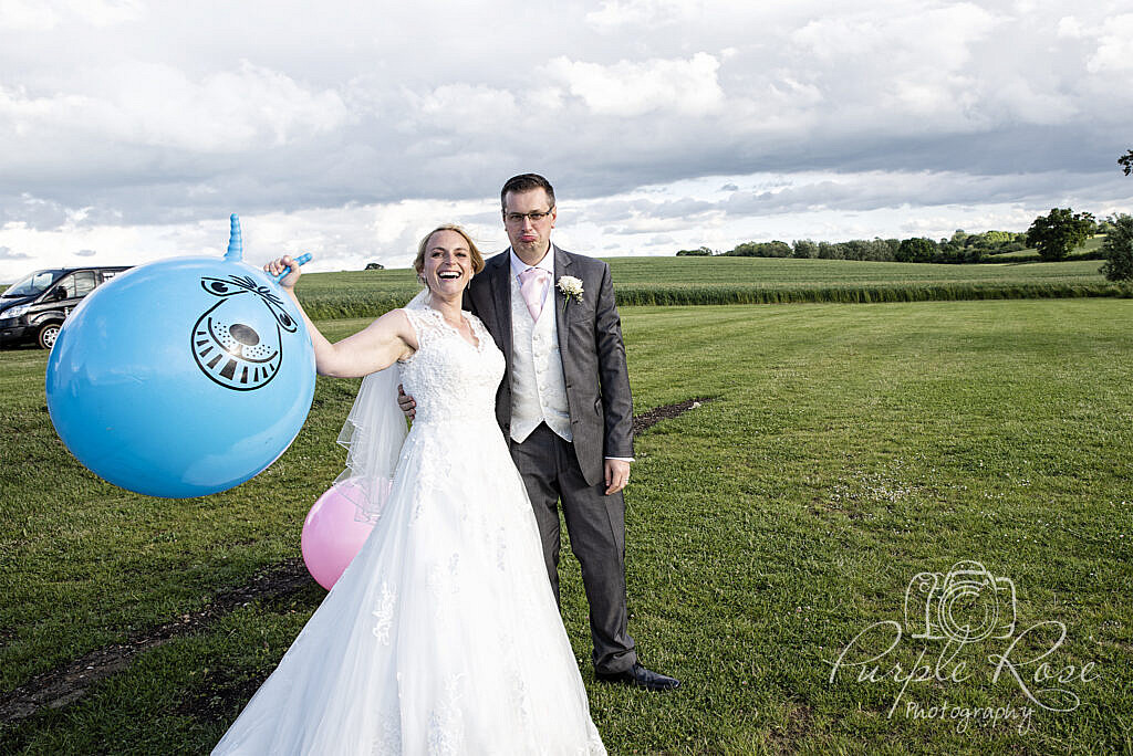 Bride celebrating her space hopper win