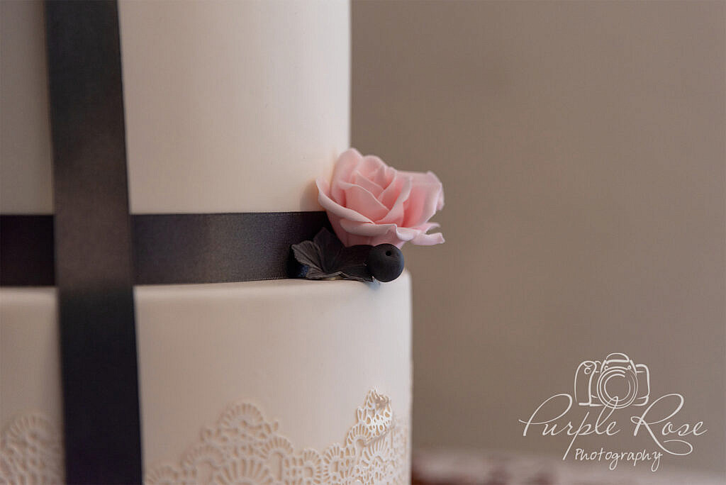 Pink and purple flower cake detail