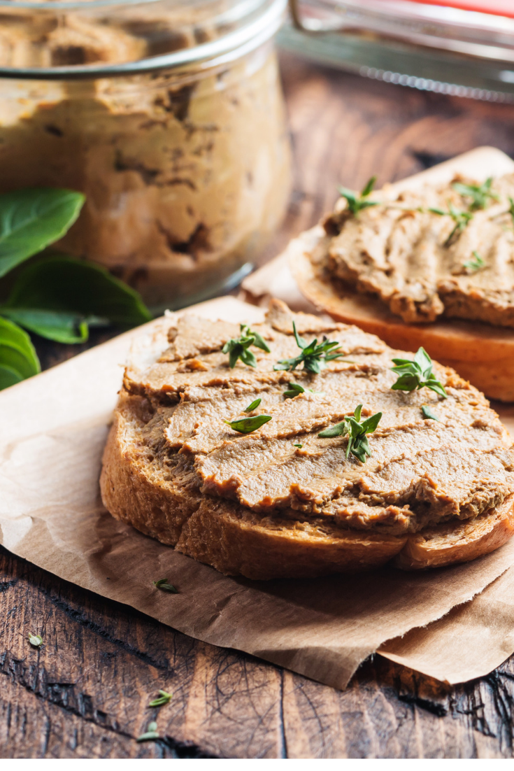 mushroom pate on toast and in a jar