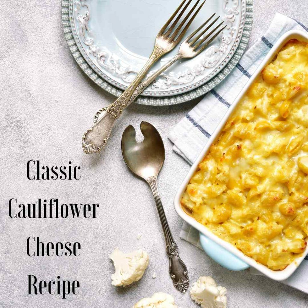 cauliflower cheese in dish with cutlery