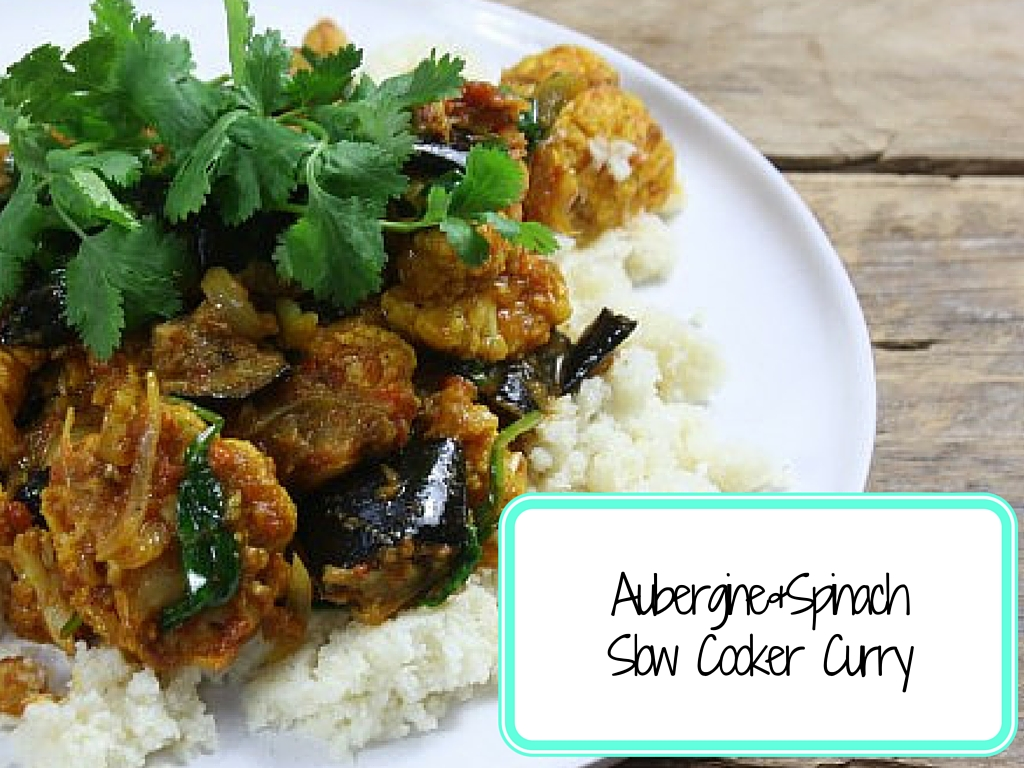 Picture of the curry with white rice, fresh coriander on top and the recipe title in the corner