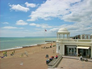 bexhill sea front with the pavillion and people