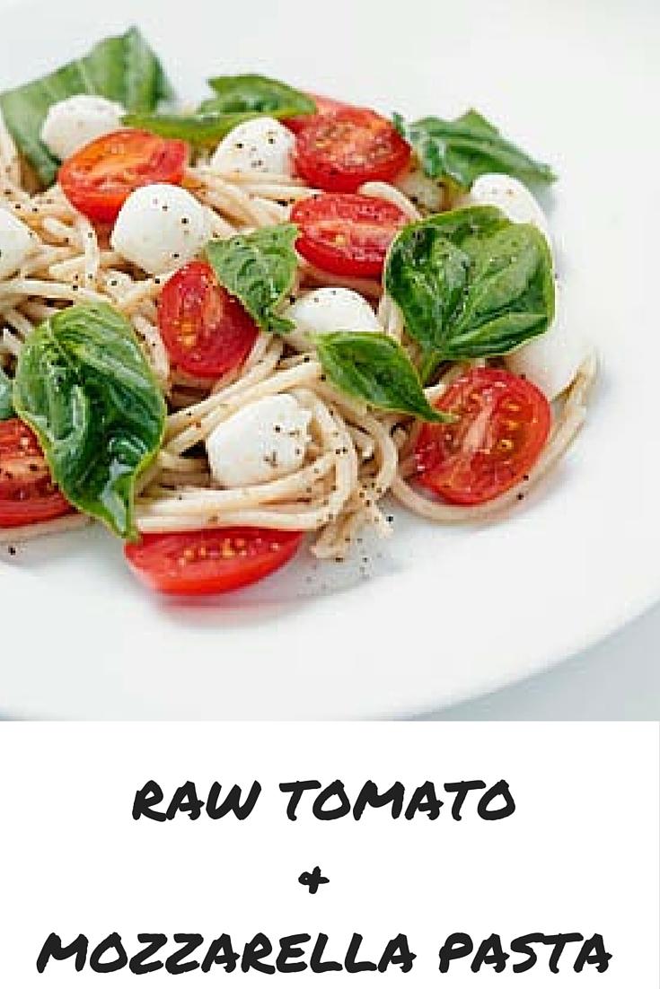 spaghetti tomato basil and mozzarella