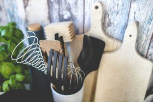 Kitchen utensils and chopping boards