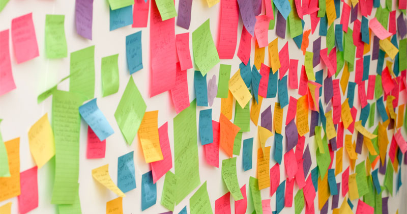 a wall of post-it notes