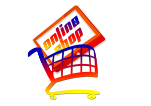 cartoon shopping cart with an online shop sign inside