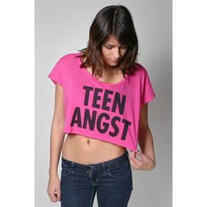 teen in pink top