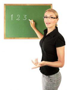 teacher at a blackboard