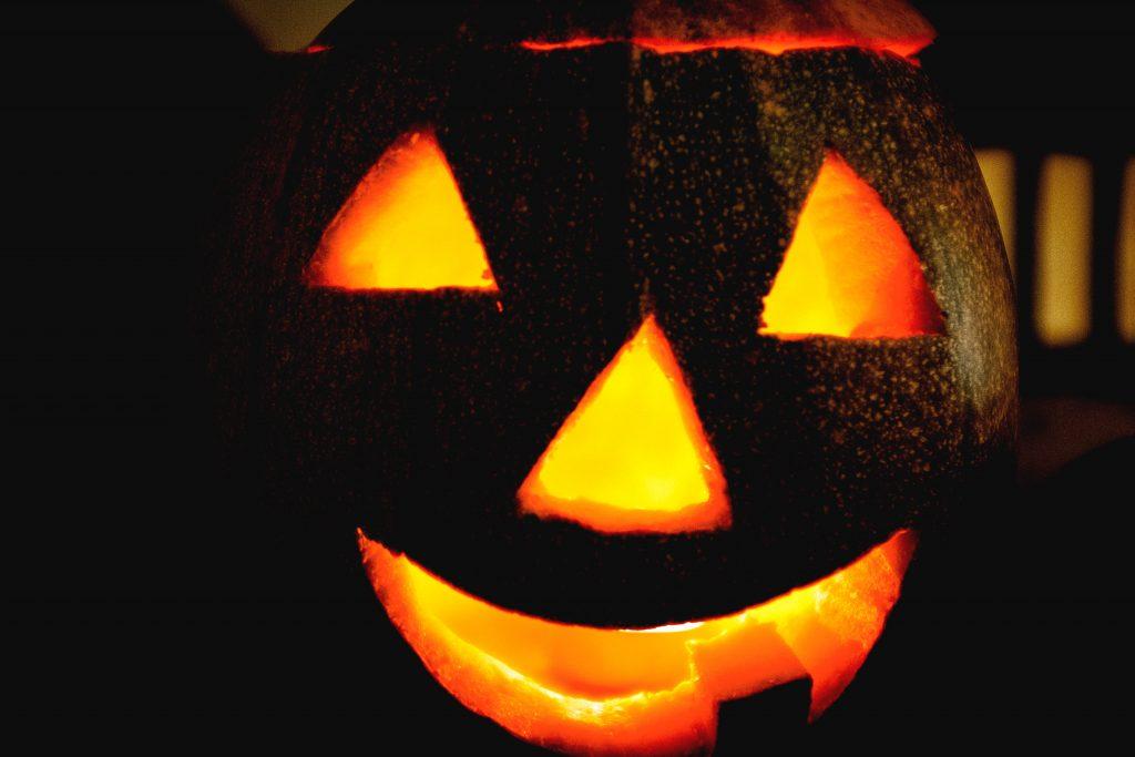 carved and lit pumpkin