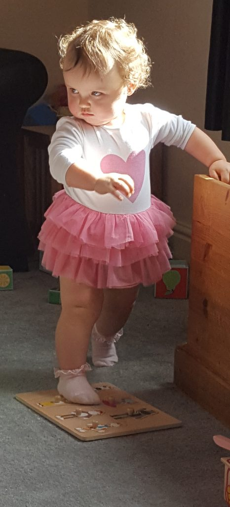 Alyssa in a pink tutu