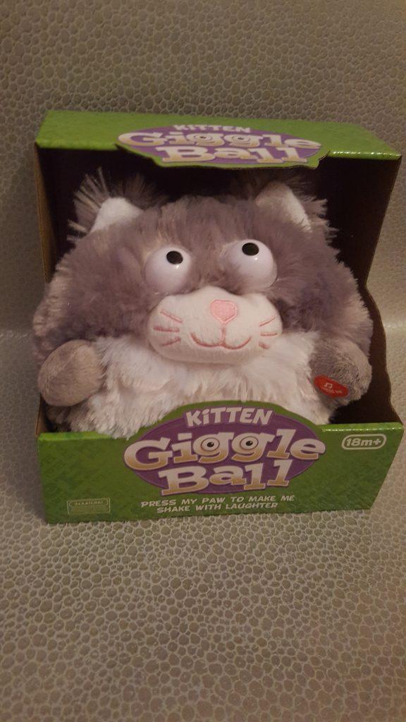 Fluffy toy kitten in a box