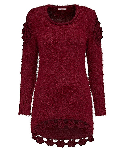 red woolen jumper - longer in back than front