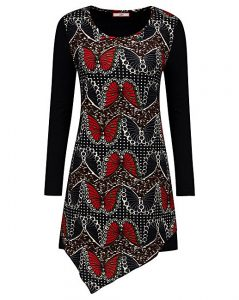 black and red top with a pointed bottom and butterfly print