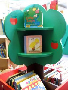 A wooden tree stand with books stood on it