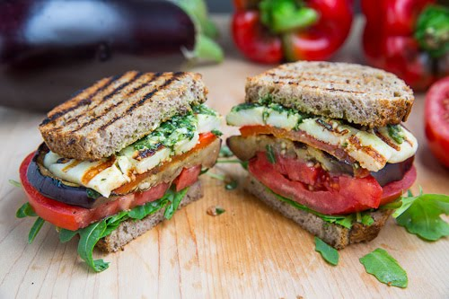red pepper and haloumi and aubergine in a sandwich cut open