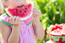 little girl in a pink gingham dress taking a bite out of the middle of a wedge of watermelon and a bowl of it beside her and a green bush blurred in the background in sunshine