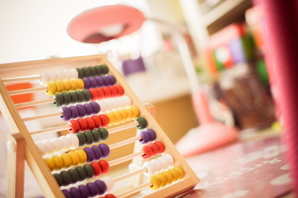 child's wooden abacus