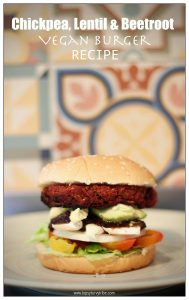 homemade burger with salad in a bun on a plate in front of funky retro tiles