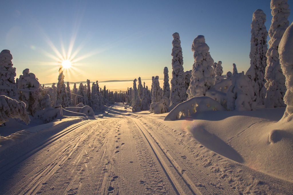 a snowy landscape with blue sky and the sun rising and shining