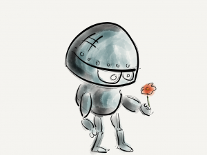 drawing of a robot holding a flower looking sad