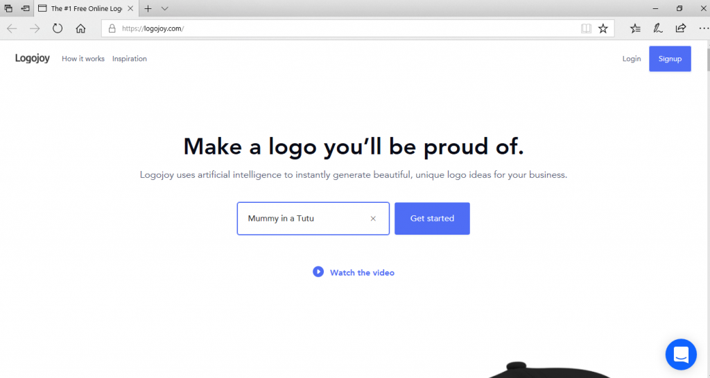 a screenshot from the logojoy homepage which is the first step to creating your own logo by entering your brand name