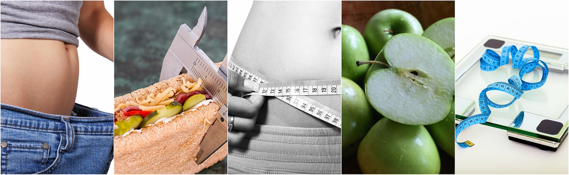 a set of four images that show a healthy sandwich, a stomach with a measuring tape round the middle, lots of green apples