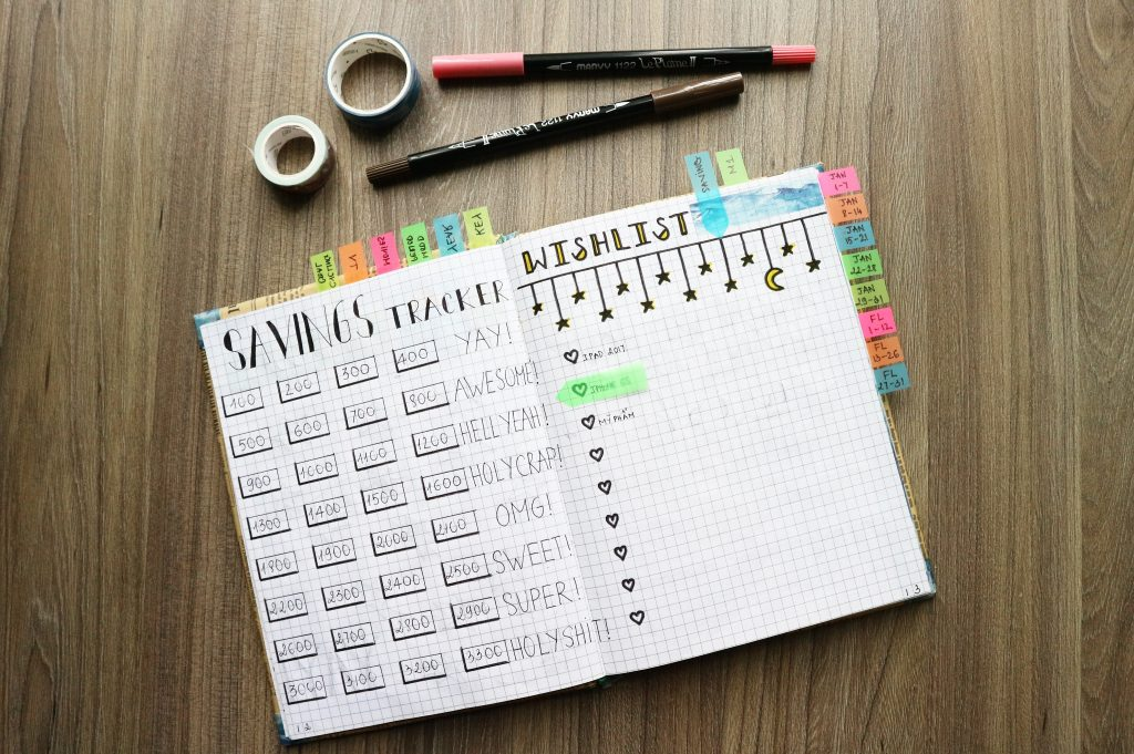 an open notebook being used for bullet journalling with a design for savings and coloured sticky tabs poking out on a wooden table with pens and tape above