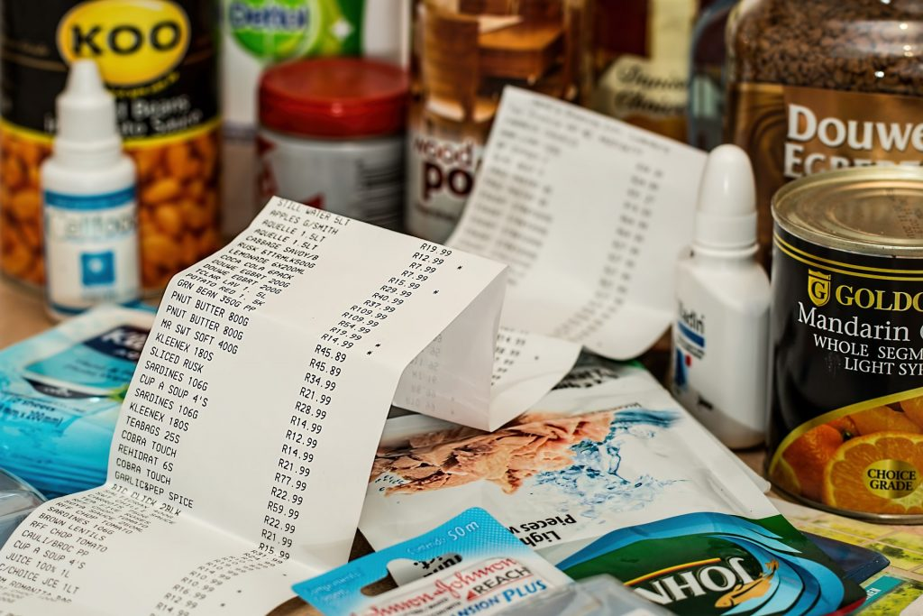 a shopping receipt with purchases all around