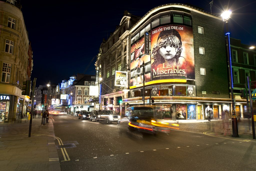 the west end lit up at night with theatre billboards