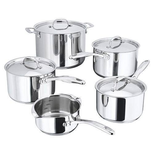 set of 5 stainless steal saucepans