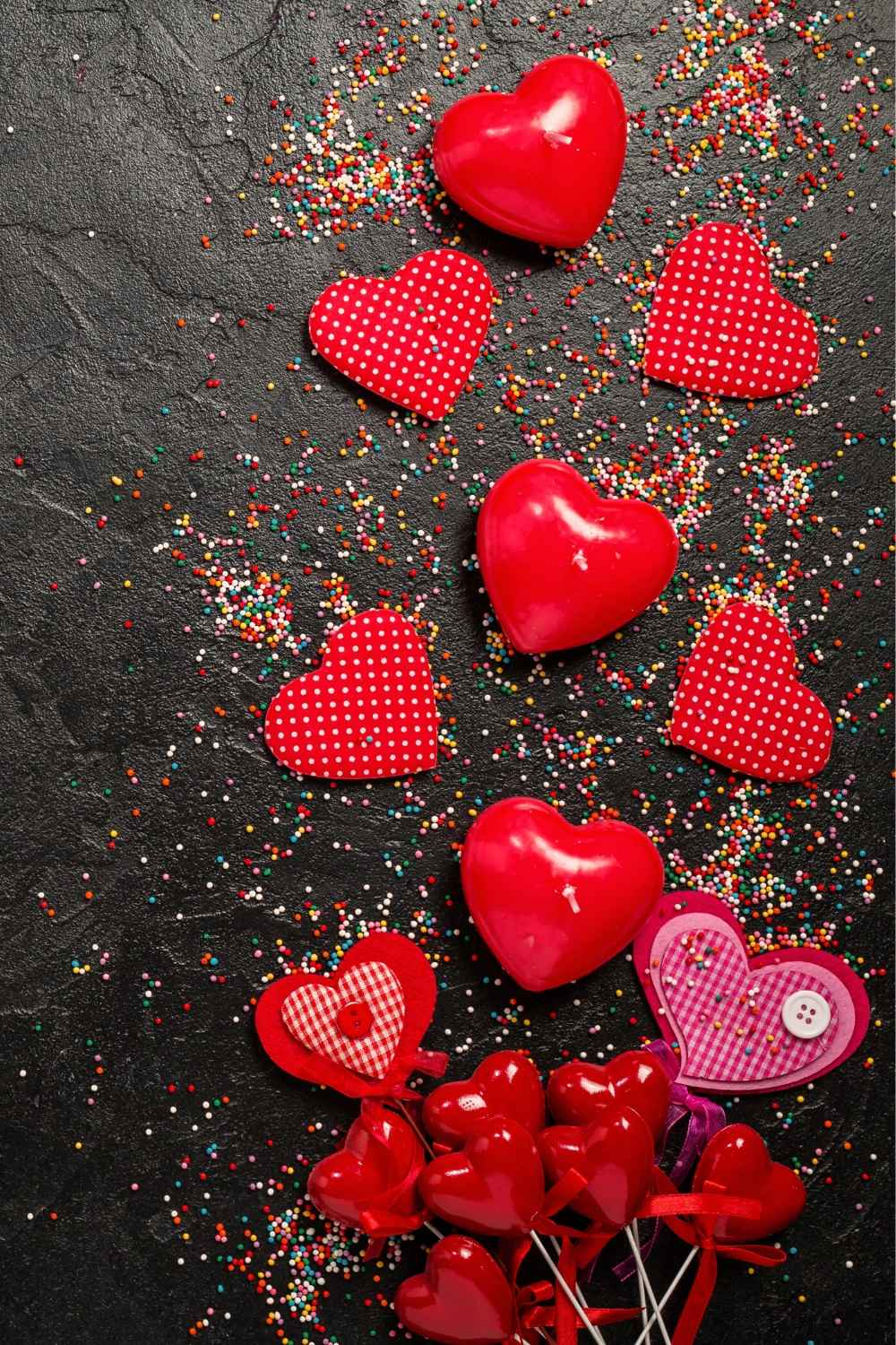 valentines hearts on a black background