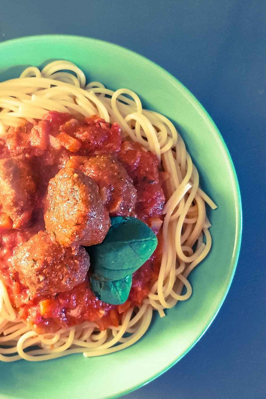 a bowl of spaghetti and meatballs recipe