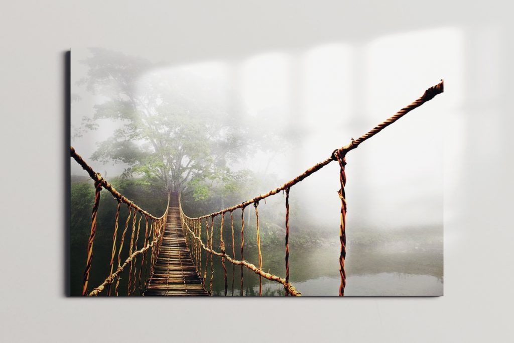 fine art america poster of a misty footbridge