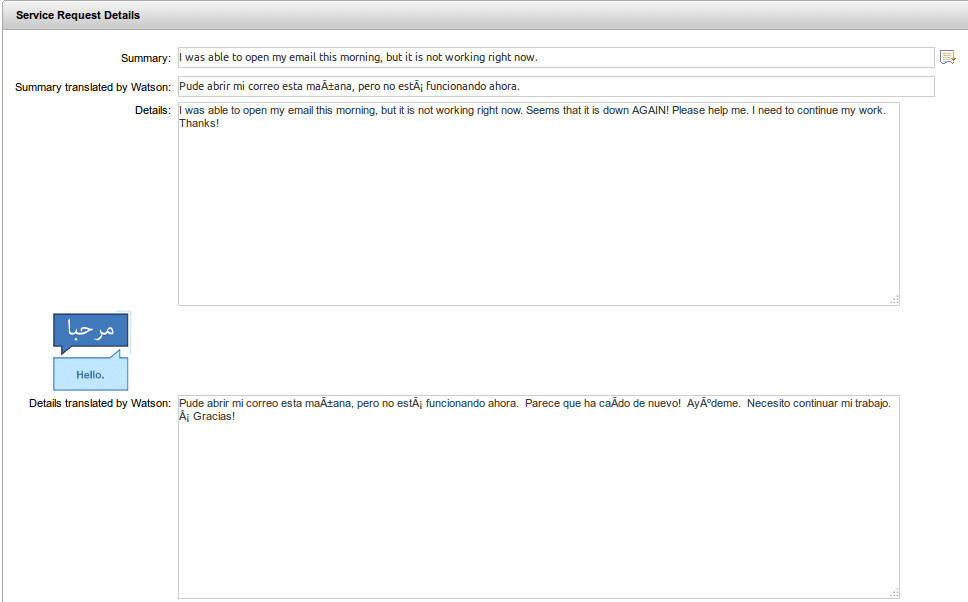 IBM Control Desk with Service Request details translated by Watson